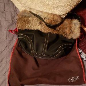 Coach fur trimmed purse